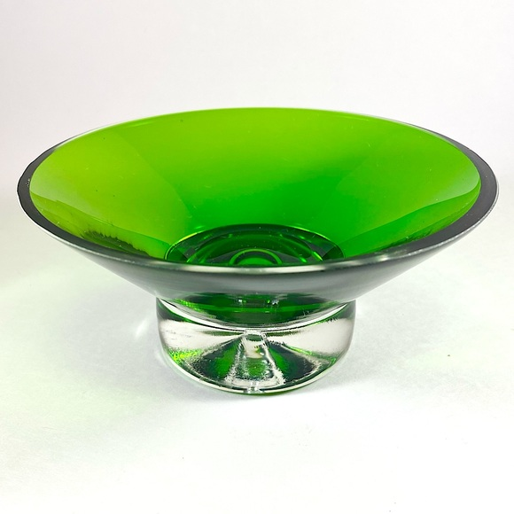Vintage green and clear glass candy bowl